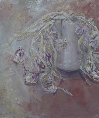 Still life with withered tulips in a pink pot on red color. To sale