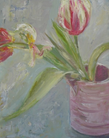 still life with 3 tulips in a small pink pot. mixed media technic on canvas board. To sale