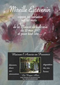 The poster of my last painting exhibition at La Roque Alric in 2017