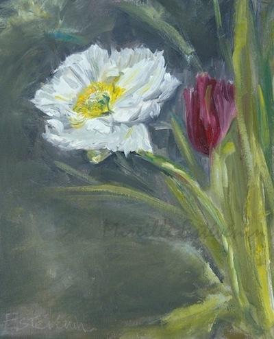 "Still life with an anemone and a red tulip. mixed technic on canvas board.7""x9"". framed with american box"