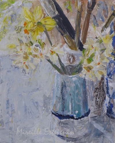 "Still life with flowers and brushes in my studio. mixed technic on canvas board. 10.5""x8.5"". framed with american box"