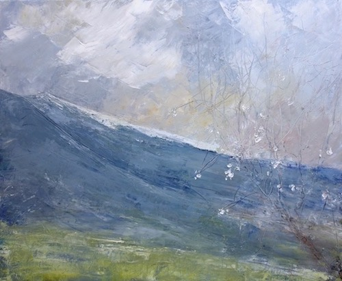 "Landscape with Ventoux in Springtime. mixed technic on canvas.22""x18"". sold"