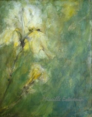 "Yellow iris in the garden. mixed technic on canvas. 16""x20"". sold. Quebec"