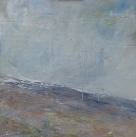 Landscape of the Ventoux. mixed technic on cardboard