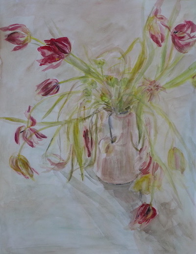 "Watercolor still life with red/pink tulips in a pale pink pot.20""x25.5"".To sale"