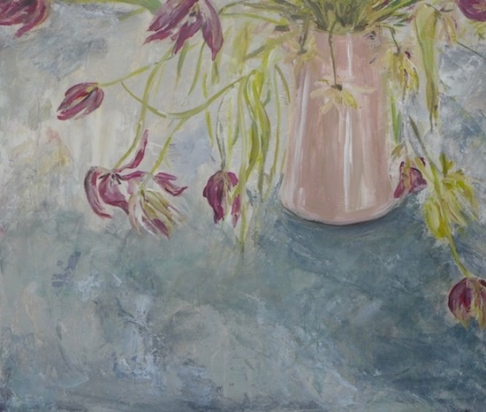 "Still life with withered tulips in a pale pink pot on blue grey. Mixed technic on wood panel (23.5""x20"")"