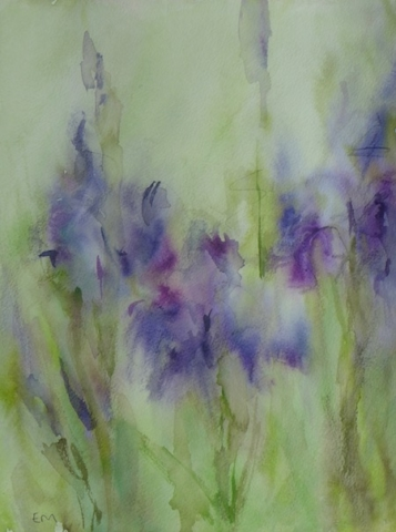 View of purple iris in the green of the garden. Watercolor and inks on paper with lot of water.