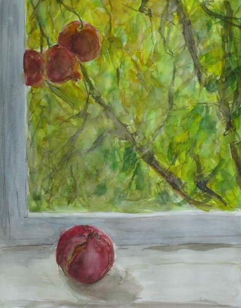 Still life in my studio behind the window with pomegranates on the tree and one pomegranate insite. watercolor and inks on paper. To sale