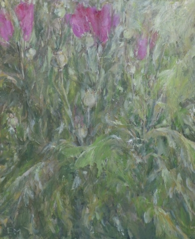 "View of pink poppies in the green of the garden. Mixed media on canvas(21.5""x18"")"