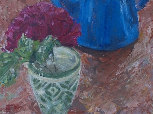 Still life with red rose in green pot behind a blue pot. Mixed media on canvas board