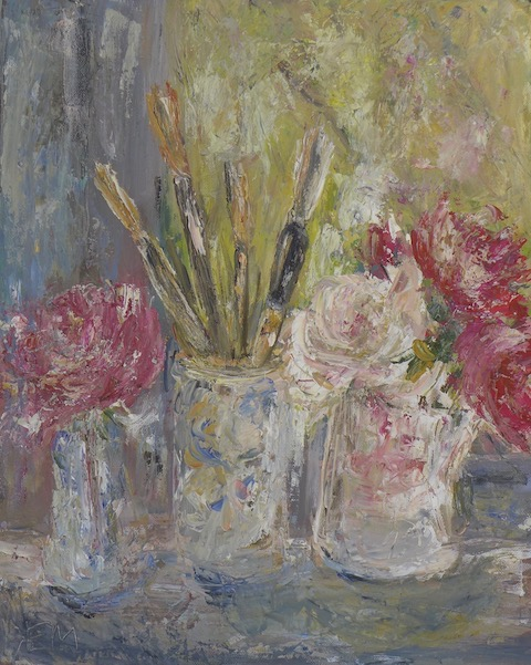 Still life with 2 pots with pink roses and a pot with brushes in my studio. Mixed media painting on canvas. sold