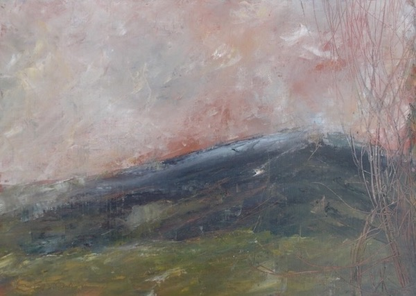 landscape with Ventoux and pink sky in winter. mixed technic on canvas. sold