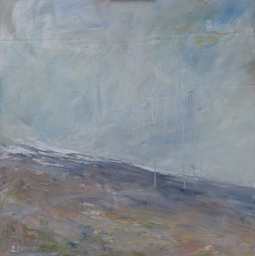 Landscape of the Ventoux. mixed technic on cardboard.To sale