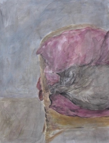 "Cat sleeping on an armchair with pink cushions. Watercolor and ink on paper( 20""x25.5"")"