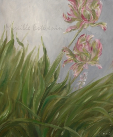 2 parrot tulips in the grass and green leaves. oil on canvas.