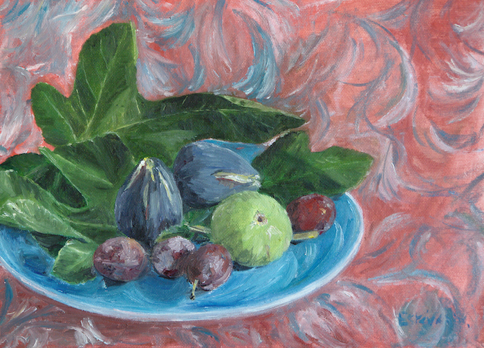 still life with plums , figs and leaves figs on a blue plate on a red and blue cloth. Oil painting on cardboard