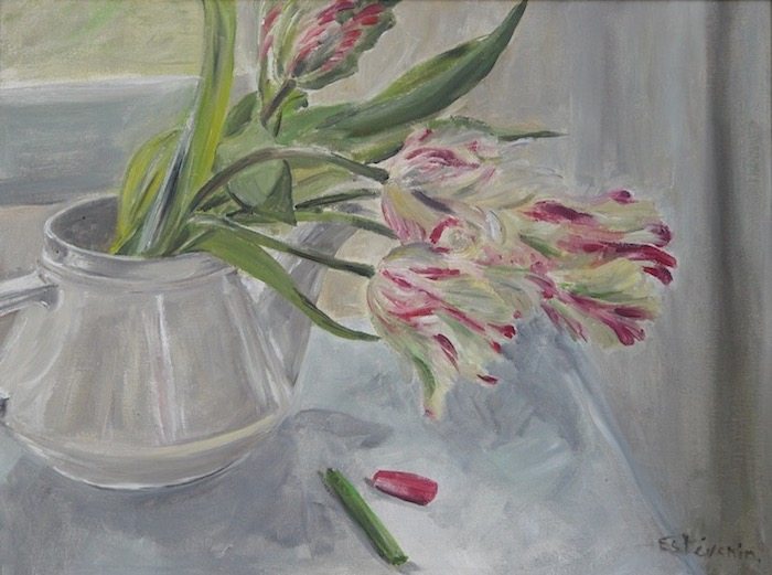 Still life with parrot tulips in a  white tea pot. There are 2 pastels near the teapot, one green, one pink. oil on carboard.