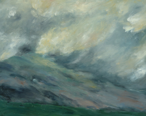 Landscape with the Mont Ventoux and big clouds.oil on wood. sold
