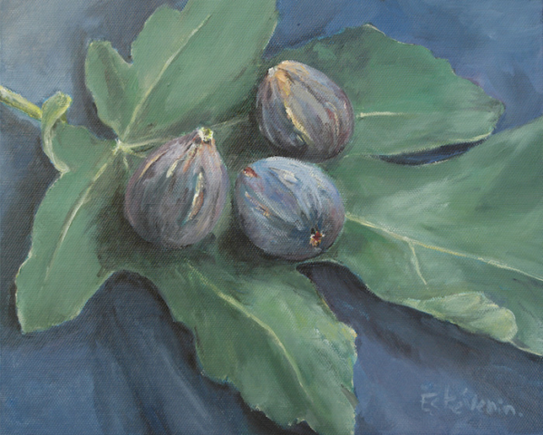 Still life of 3 figs on a green fig leave, on a blue cloth. oil on cardboard. sold