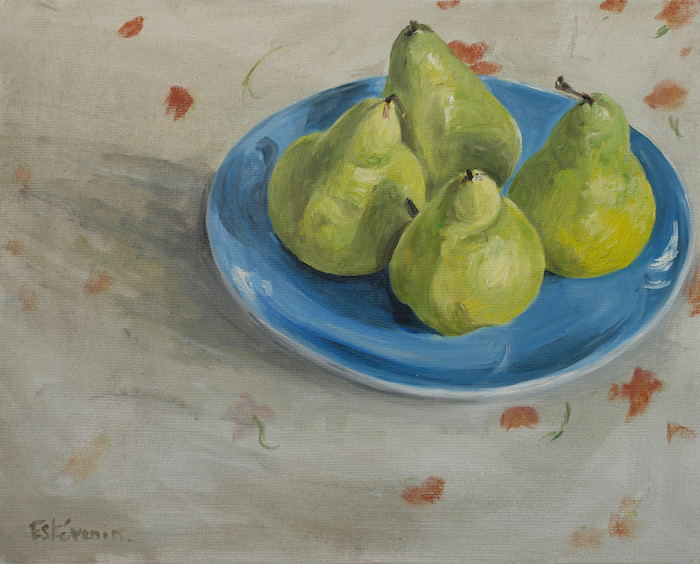 Still life of 4 green pears on a blue plate, on a white cloth with little red flowers. oil on canvas