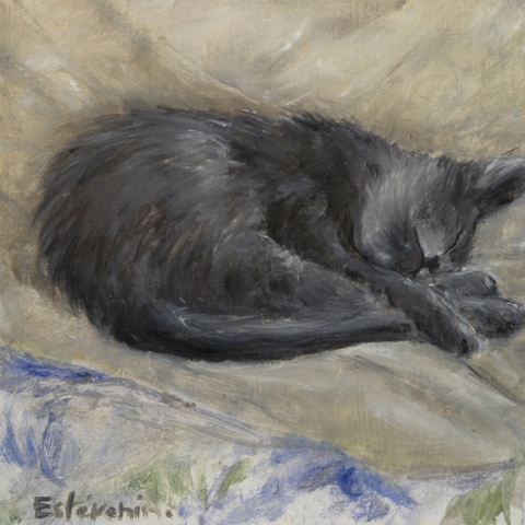 Kitten sleeping on a bed with blue cloth. oil on cardboard.not for sale