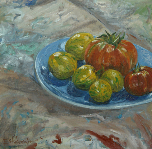 "still life with 5 grenn tomatoes and 2 red tomatoes on a blue plate. oil on canvas(16""x16"").sold"