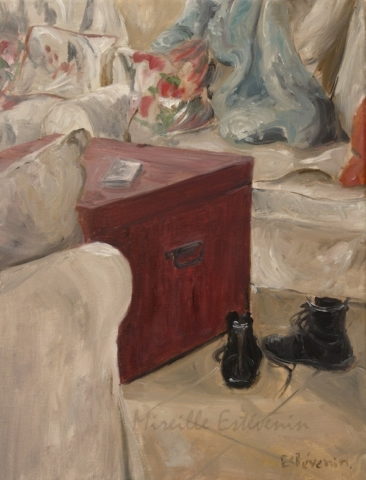 Interior scene with black boots behind 2 sofas with cushions. oil on canvas.