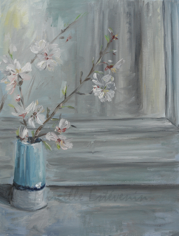 Still life with almond flowers in a turquoise pot. oil on cardboard.sold