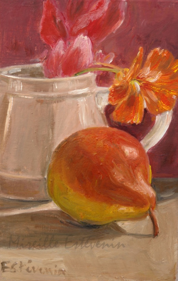 Still life with nasturtium in a pink tea pot with a red pear. oil on cardboard. sold