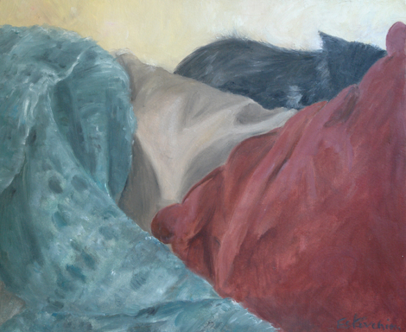Cat sleeping on cushions, red and bleu green. oil on cardboard. sold