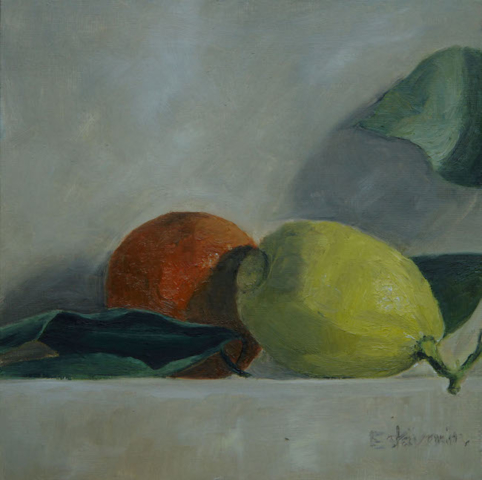 Still life with a clementine and a lemon and leaves. oil on cardboard.sold