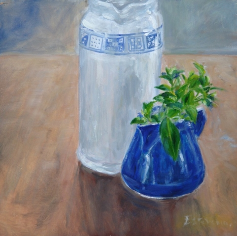 Still life with 2 blue pots and little leaves and flowers. oil on cardboard.