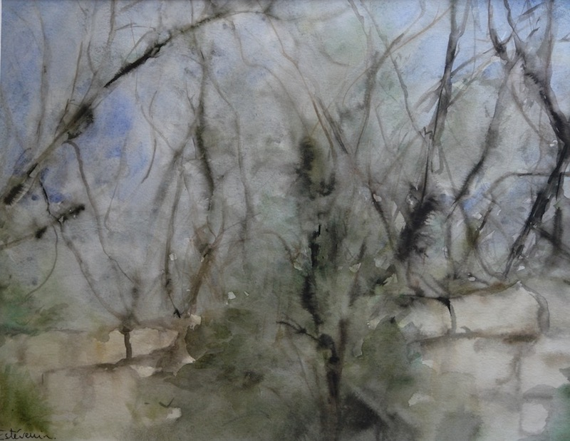 "View of the stones wall in the garden with trees and branches in winter. watercolor and inks on paper(18""x23.5"").sold"