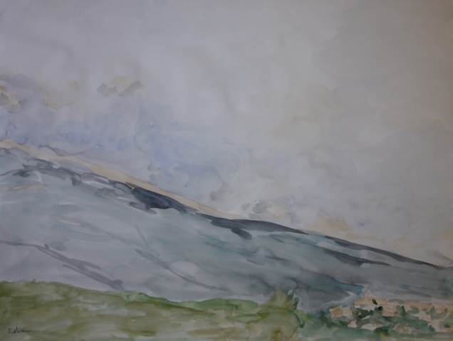 Landscape of the Ventoux with clouds and Crillon le Brave, on the right. watercolor on paper.