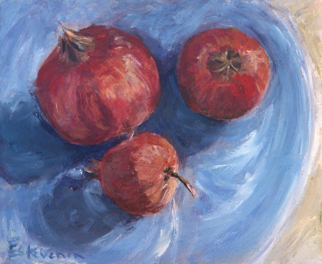 "Still life of 3 pomegranates on a blue plate. oil on cardboard.(10.5""x8.5"")."