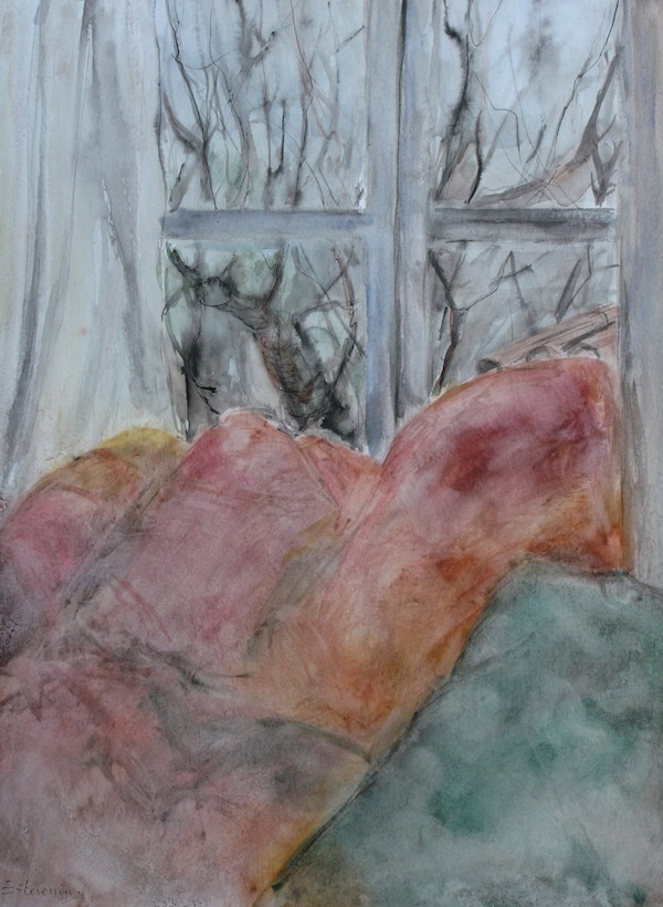 Interior scene with the sofa and a view from the window on the garden and  trees.watercolor,inks on paper.