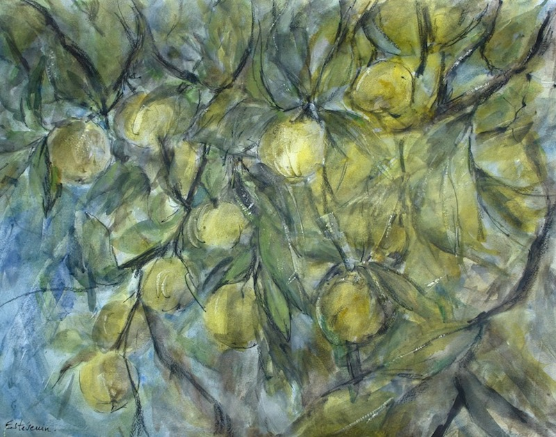 View inside the apple tree with yellow apples. mixed technic on paper.