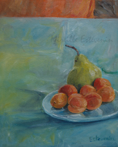 Still life with a green pear and apricots in a blue plate on a blue green cloth. oil on canvas. sold