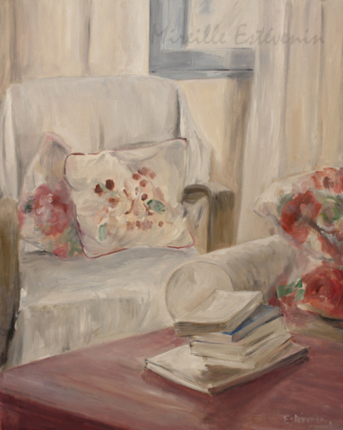 Interior scene with armchair behind a window and books on a table. The colours are white and pink red. It's a sweet atmosphere. oil on canvas. sold