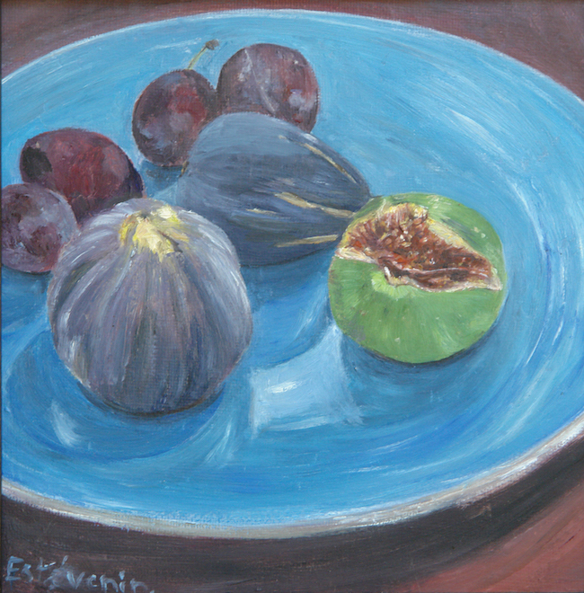 Still life with 2 black figs, one green fig,and 4 quetsches on a blue plate. The green fig is opened . oil on cardboard.
