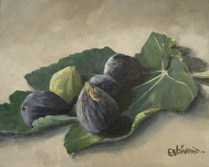 Still life with 4 black figs and one green fig on a fig leave. oil on cardboard. sold