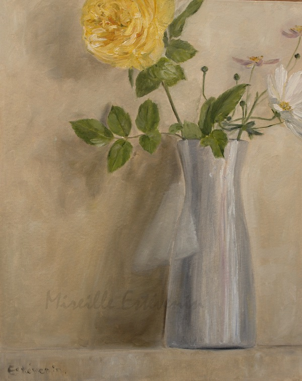 Yellow rose and cosmos in a white pot , with white wall. oil on cardboard. sold