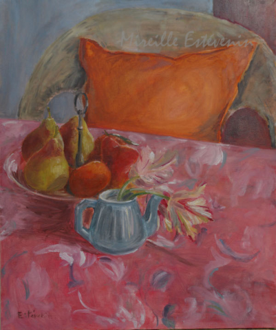 Interior scene with red and orange fruit, and 3 parrot tulips in a turquoise teapot on a red and blue cloth , and an armchair with orange cushion. oil on canvas. sold