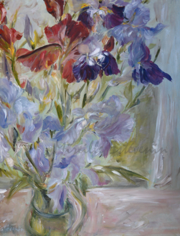 Purple, pale blue and brown garden iris in a green pot, in my studio behind the window. oil on wood. sold