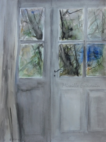 "View from the sitting room door on the blue house in the garden.watercolor and inks on paper(17.5""x21"").sold"