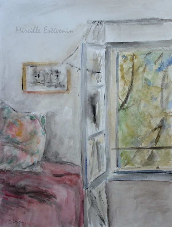 "View from a bedroom with the window opened on a tree in the garden. watercolor, inks on paper(17.5""x21"")"