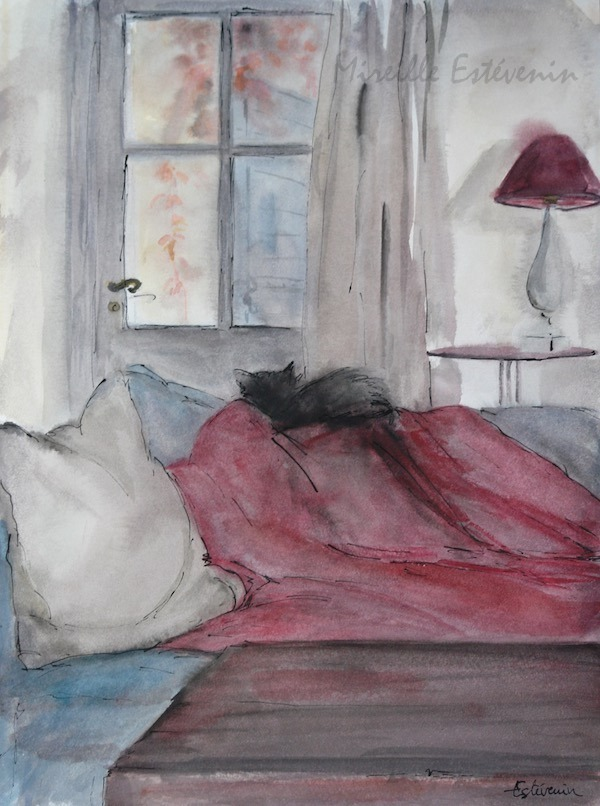 Interior scene with a cat sleeping on a sofa with pink plaid. watercolor and inks on aper.sold