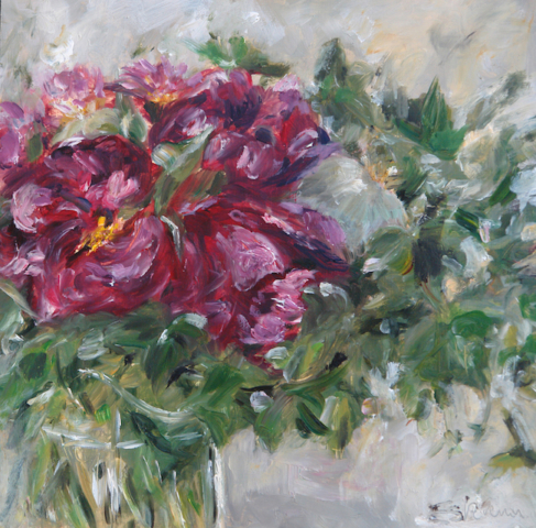 Bunch of dark pink peonies i and green leaves. Oil painting on canvas board. sold