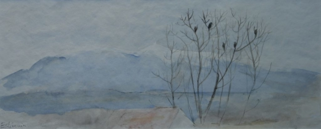 "landscape with Ventoux and trees with birds in winter.watercolor on paper(19""x10).not  for sale."