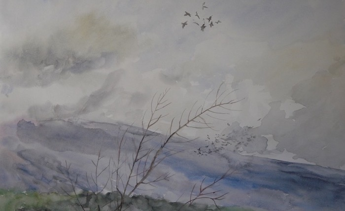 Landscape of the Ventoux in winter with birds in the clouds. watercolor and ink